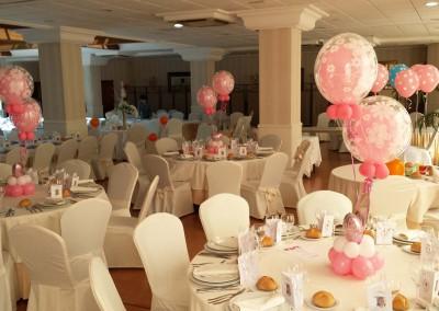 Centros burbuja y globos. Banquete comunión.